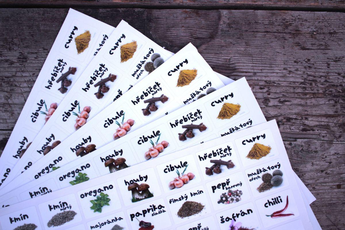 Samolepky na kořenky - základní koření a bylinky